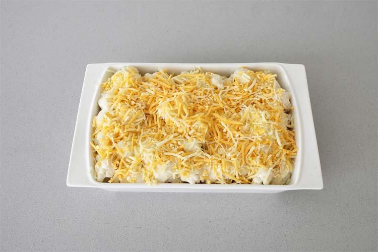 Coliflor con queso rallado por encima