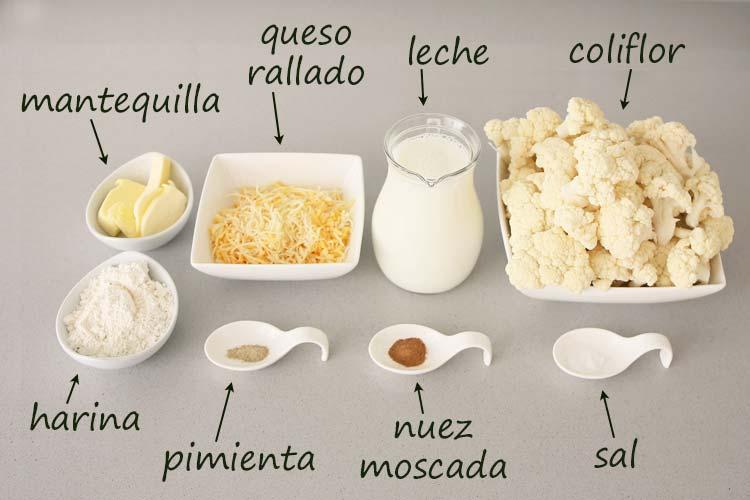 Ingredientes para hacer coliflor gratinada