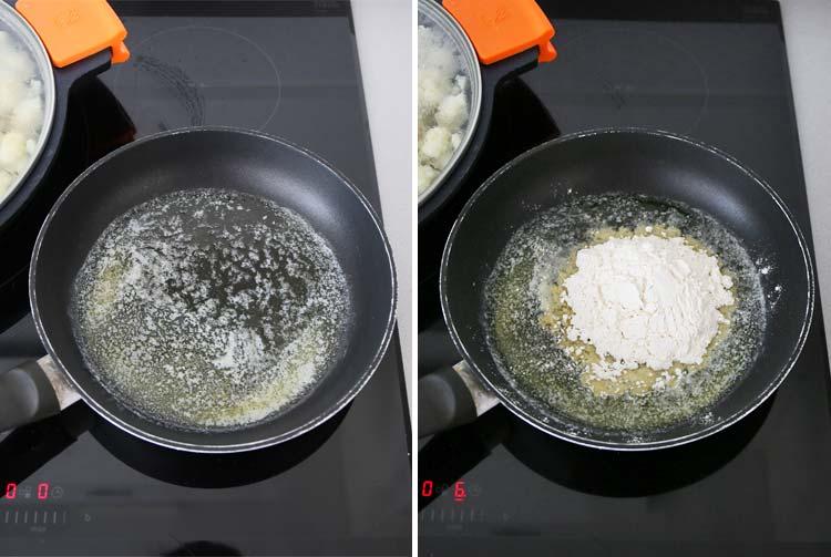 mantequilla fundida con harina