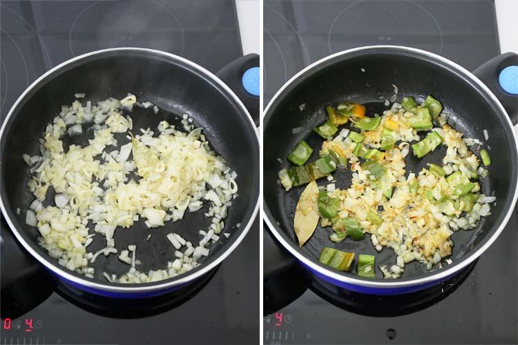 Ajo, cebolla y pimiento pochados con aceite de oliva y una hoja de laurel