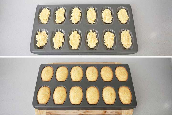 Molde para madeleines lleno con masa listo para hornear
