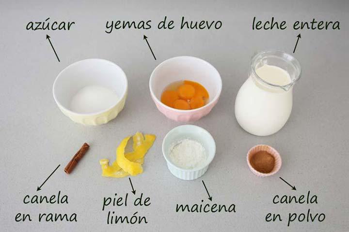 Ingredientes para hacer natillas caseras