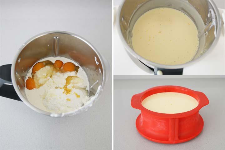 Ingredientes triturados para hacer tarta de queso ricotta