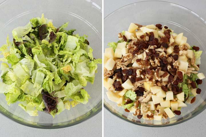 Ingredientes de ensalada de lechuga, pollo y manzana mezclados en un bol