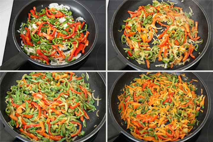 Verduras cortadas muy finas y pochadas