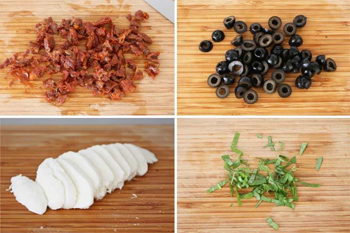 Ingredientes troceados para hacer ensalada estilo mediterráneo