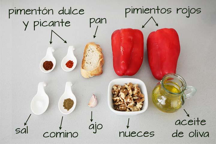 Ingredientes para hacer muhammara o paté de pimiento asado