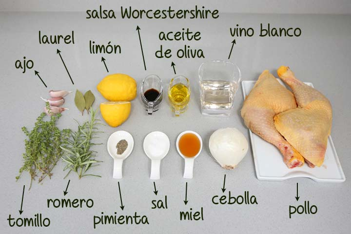 Ingredientes para hacer pollo al horno con limón