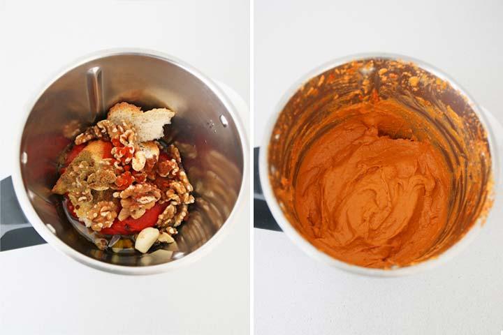 Ingredientes del muhammara triturados en un robot de cocina
