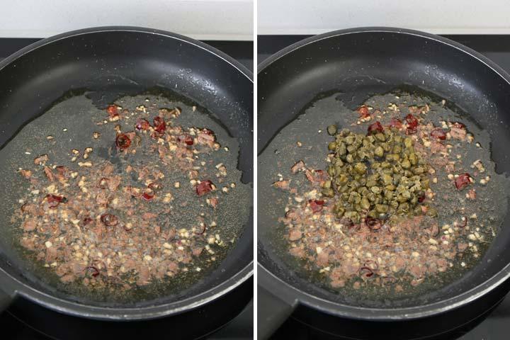 Cocinar las anchoas, las alcaparras y el ajo troceados