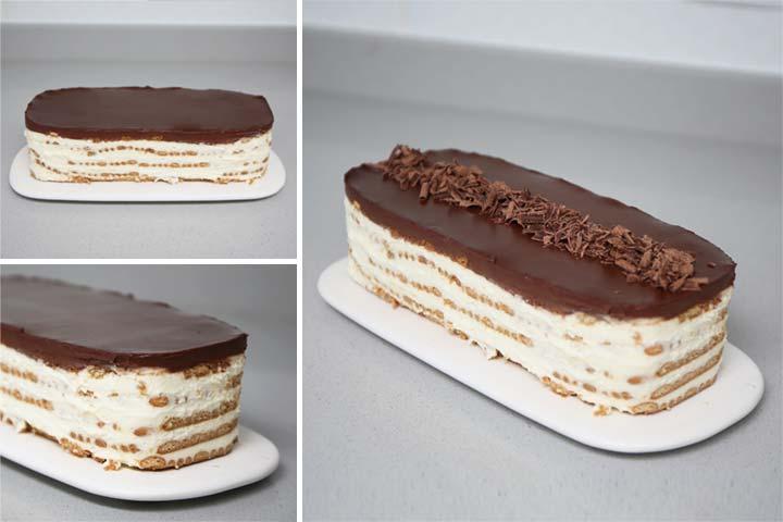 Desmoldar con cuidado la tarta de galletas y mascarpone