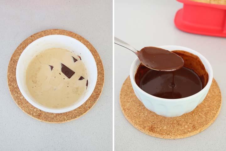 Preparar el ganache con la nata caliente, el café y el chocolate