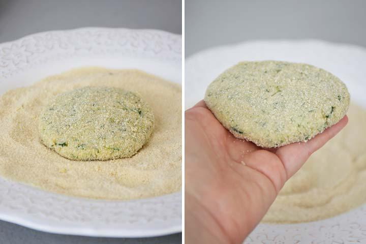 Hamburguesas de calabacín rebozadas con pan rallado
