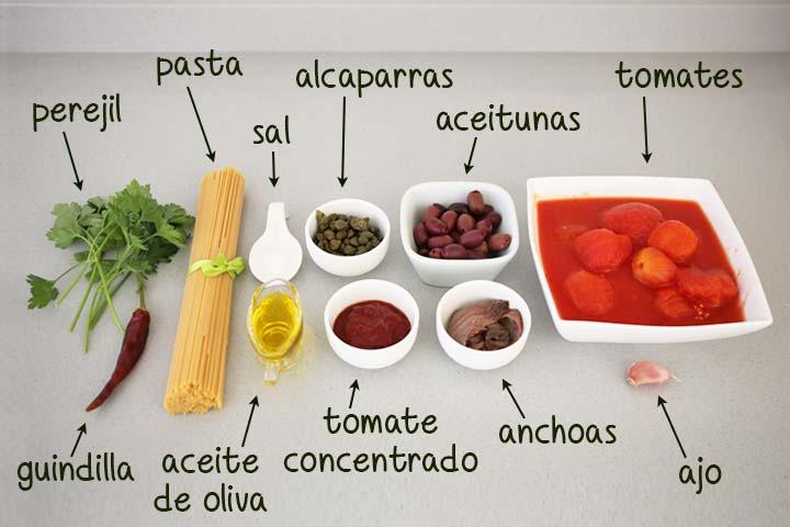 Ingredientes para hacer espaguetis a la puttanesca