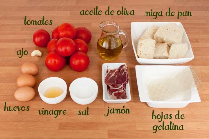 Ingredientes para hacer flan de salmorejo cordobés