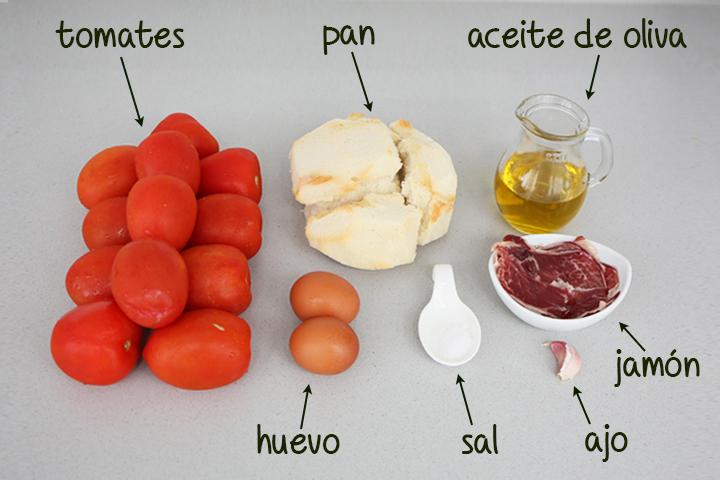 Ingredientes para hacer salmorejo cordobés
