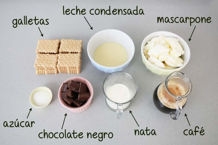 Ingredientes para hacer tarta de galletas y mascarpone