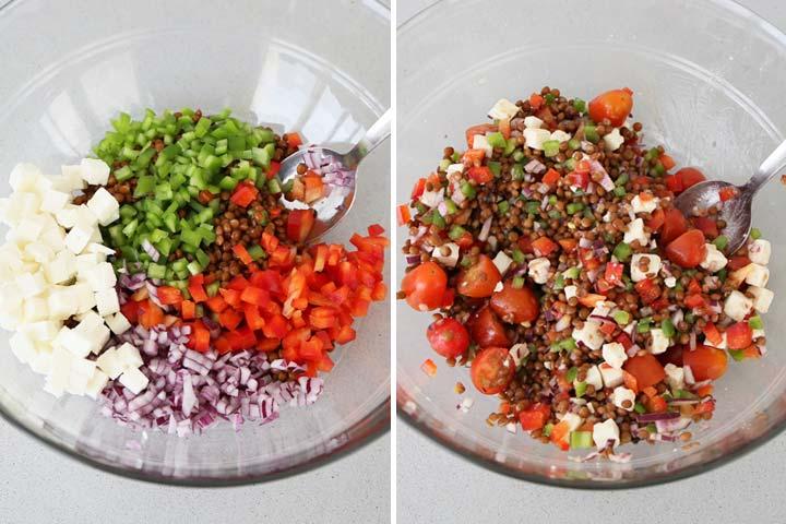 Mezclar los ingredientes y aliñar con la vinagreta