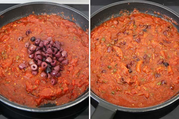 Reducir la salsa e incorporar las aceitunas