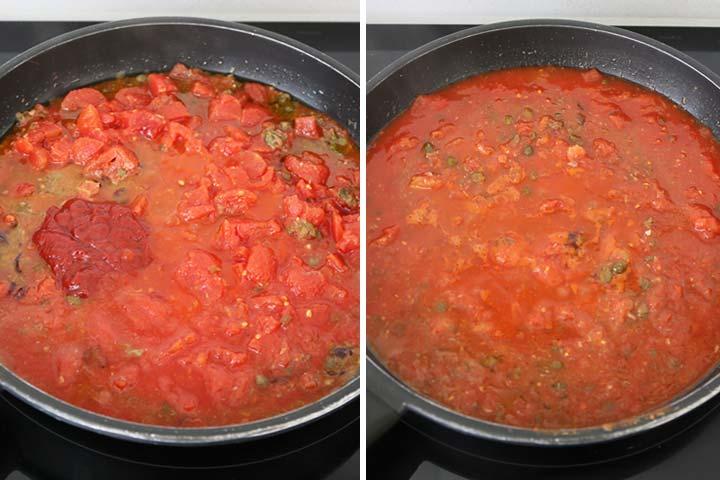 Incorporar los tomates en conserva y el tomate concentrado