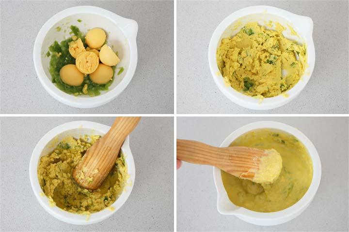 Añadir las yemas de huevo y el aceite