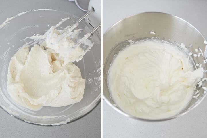 Batir el queso con el azúcar y montar la nata