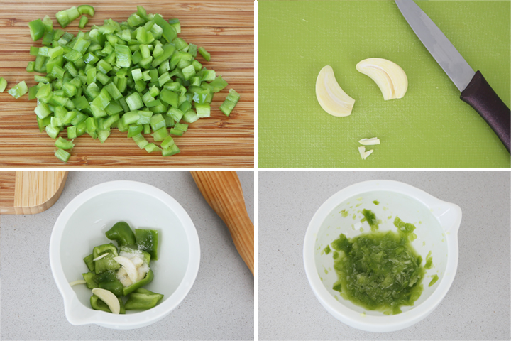 Majar el diente de ajo y el pimiento verde