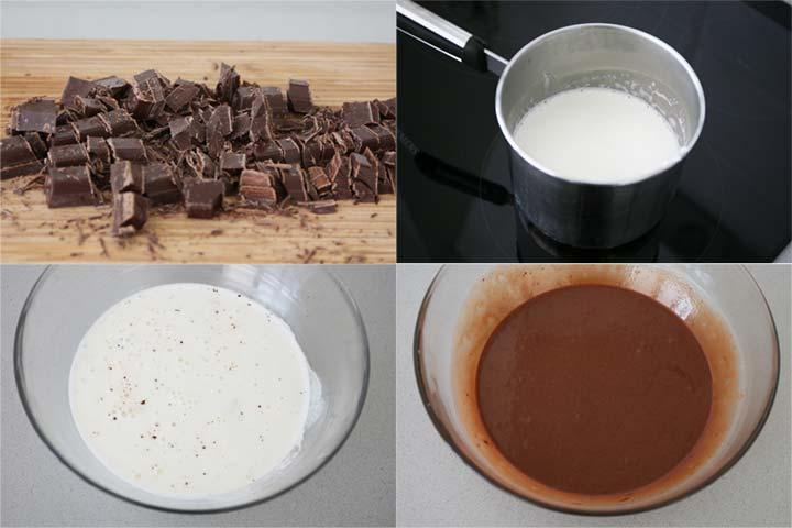 Calentar la nata y añadir el chocolate para hacer el ganache