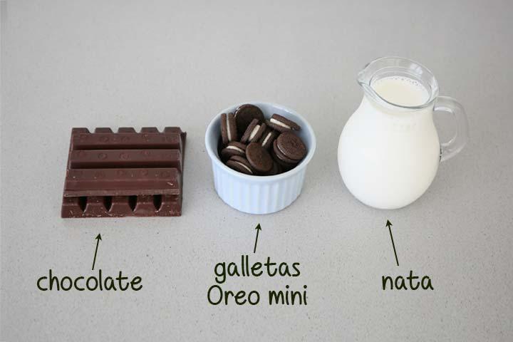 Ingredientes para decorar la tarta de Oreo