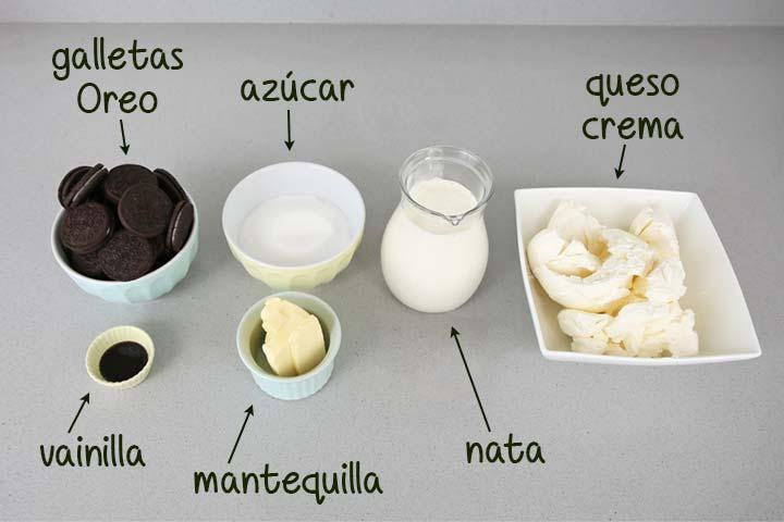 Ingredientes para hacer tarta Oreo