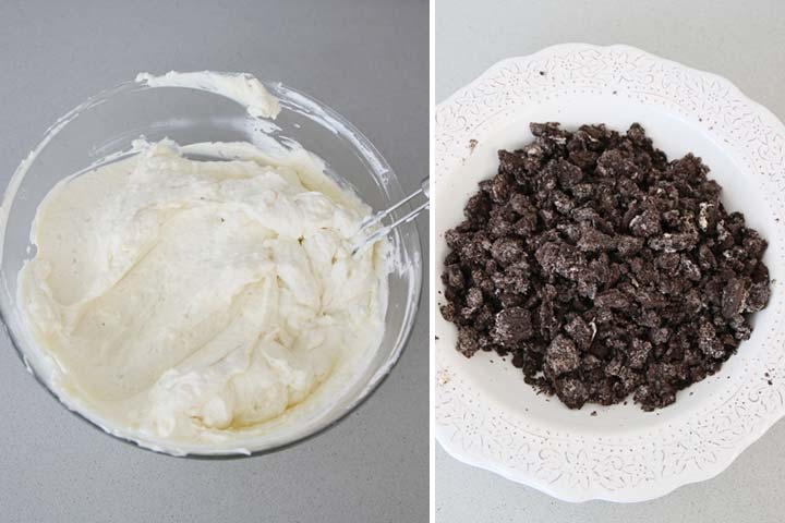 Crema de tarta con galletas Oreo