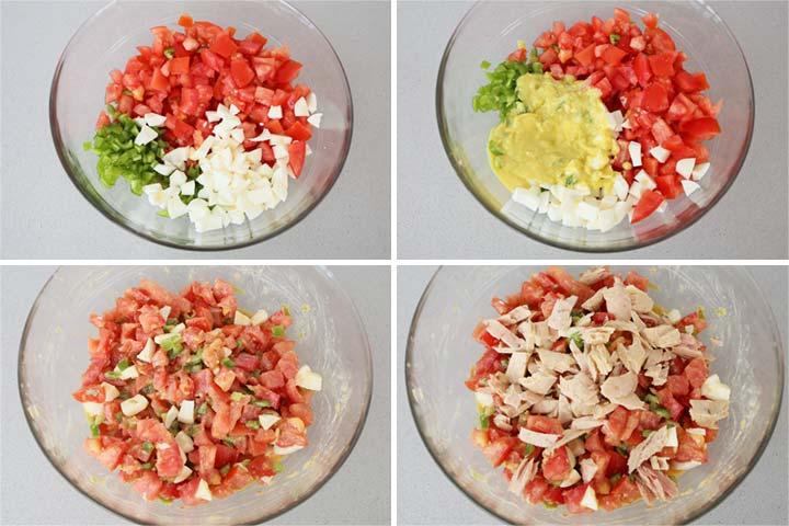Mezclar todos los ingredientes de la pipirrana y aliñar