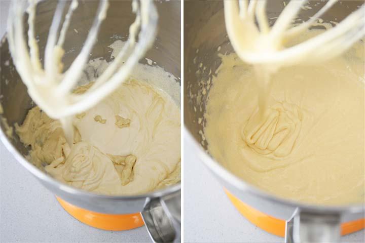 Añadir el chocolate blanco fundido y la mantequilla