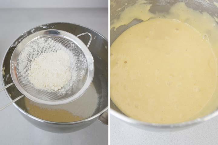 Incorporar la harina tamizada, la levadura y el pellizco de sal