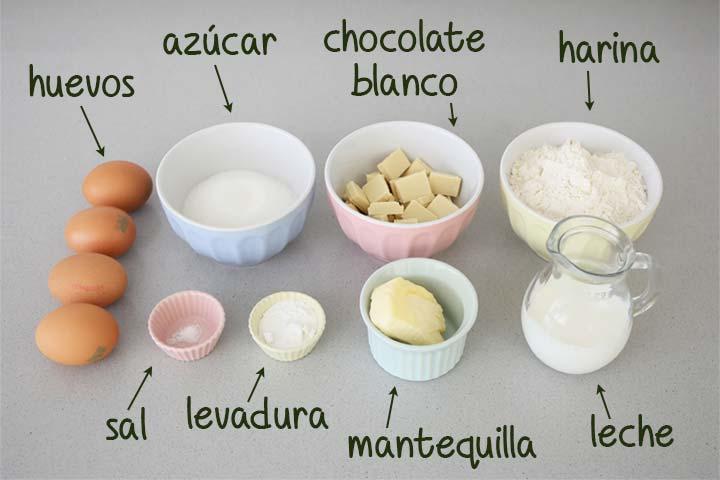 Ingredientes para hacer bizcocho de chocolate blanco