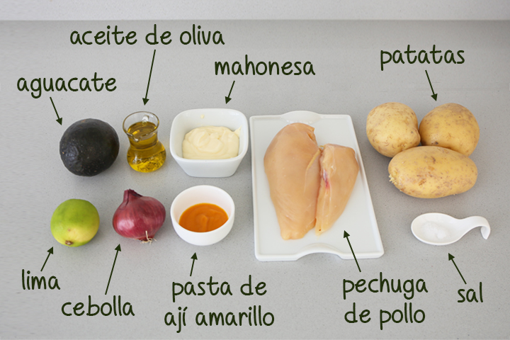 Ingredientes para hacer causa limeña de pollo