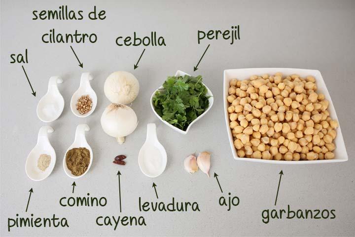 Ingredientes para hacer falafel