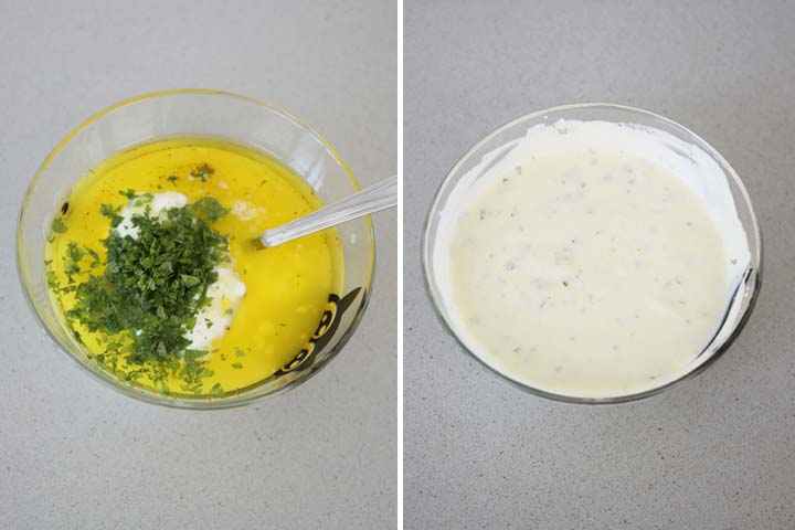 Colocar todos los ingredientes de la salsa y mezclar