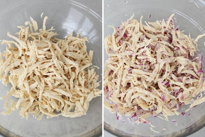 Desmenuzar el pollo y añadir la cebolla picada