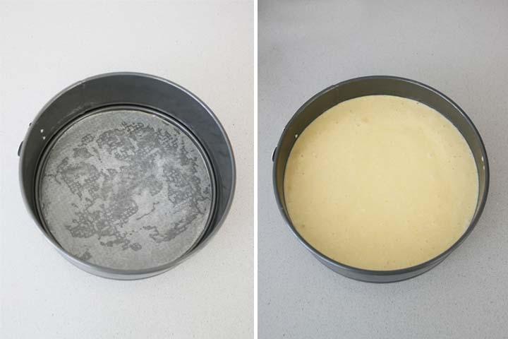Cubrir el molde con papel de hornear y verter la masa dentro