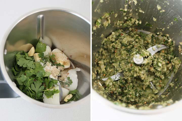 Triturar todos los ingredientes de los falafel menos los garbanzos