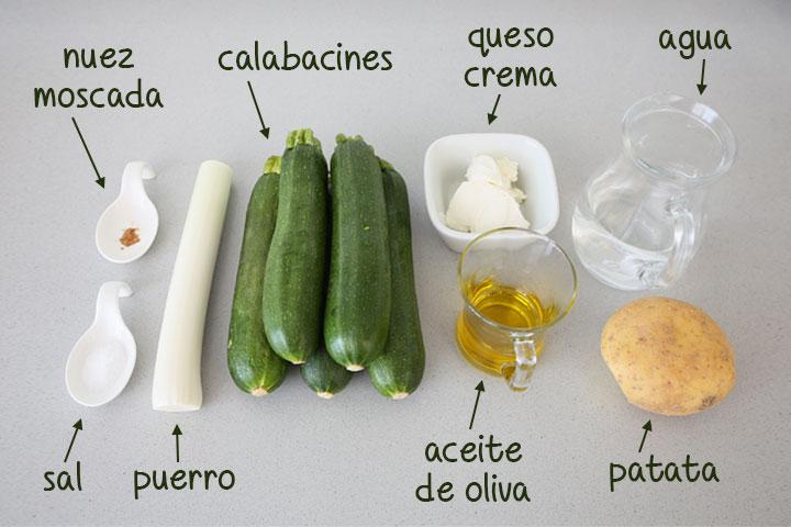 Ingredientes para hacer crema de calabacín y puerro