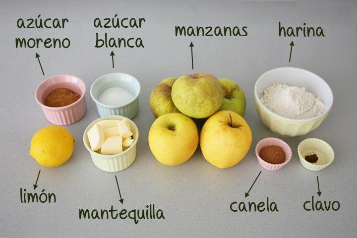 Ingredientes para hacer crumble de manzana