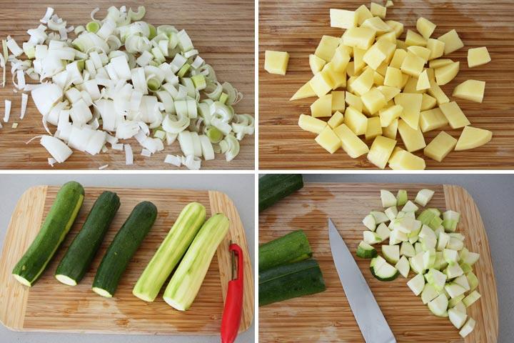 Pelar y trocear los ingredientes de la crema de calabacín
