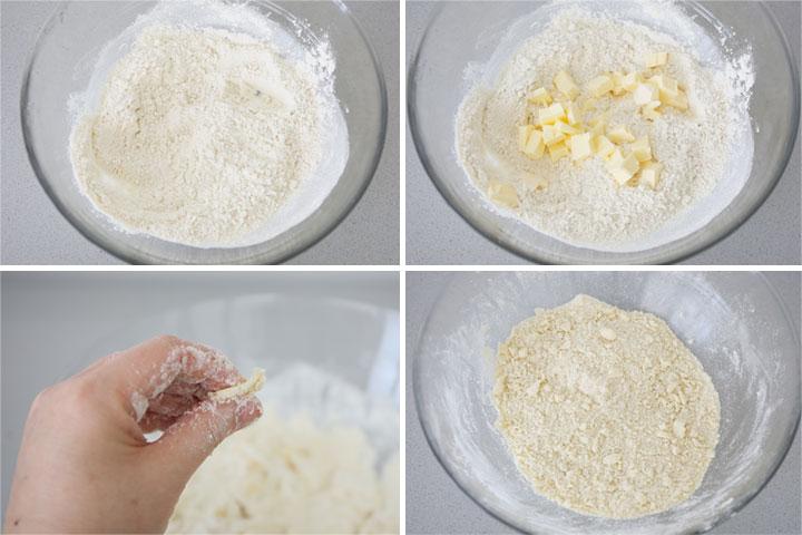 Unir los ingredientes de la masa del crumble hasta obtener una especie de arena