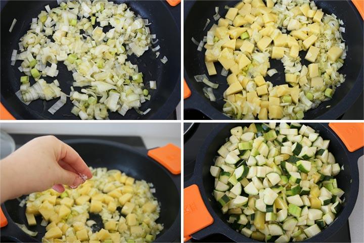 Pochar las verduras de la crema