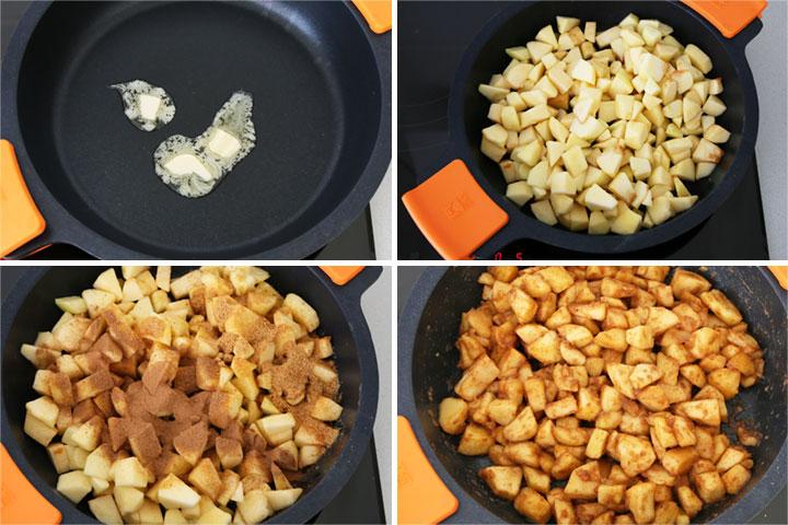 altear los trozos de manzana con mantequilla, canela, clavo y ralladura de limón